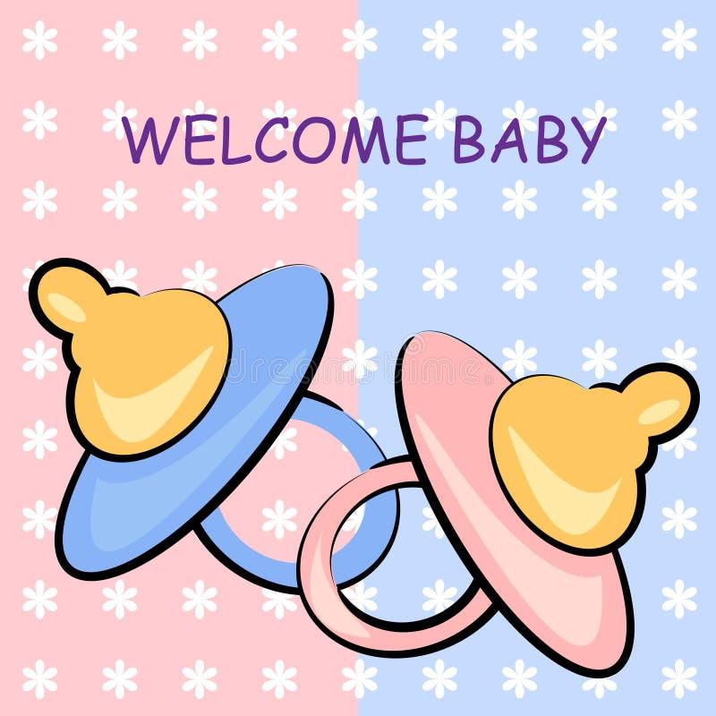 Scheda benvenuta del bambino. priorità bassa di compleanno royalty illustrazione gratis