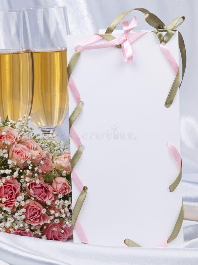 Scheda bianca, accessori wedding fotografia stock