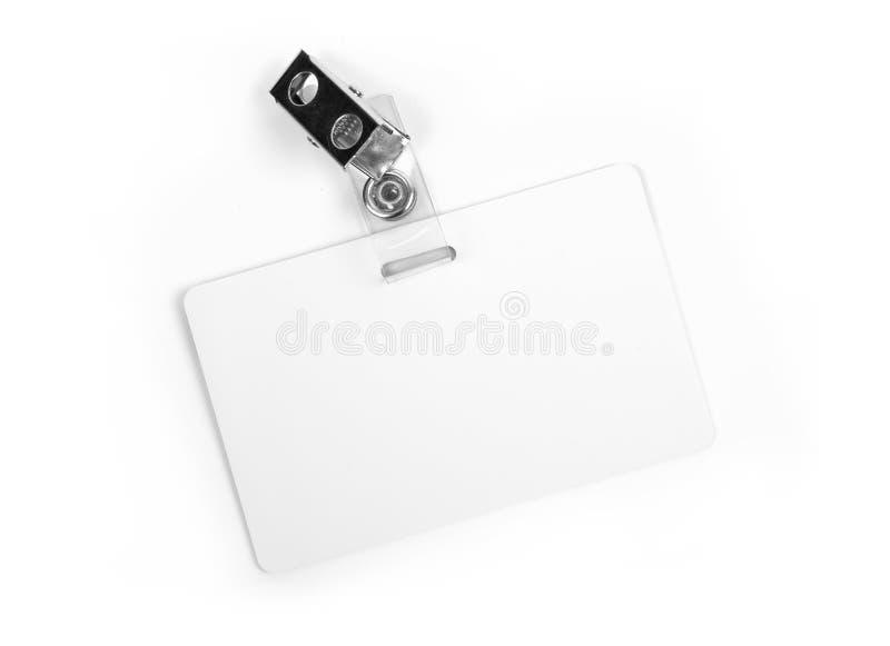 Scheda bianca di identificazione fotografie stock libere da diritti