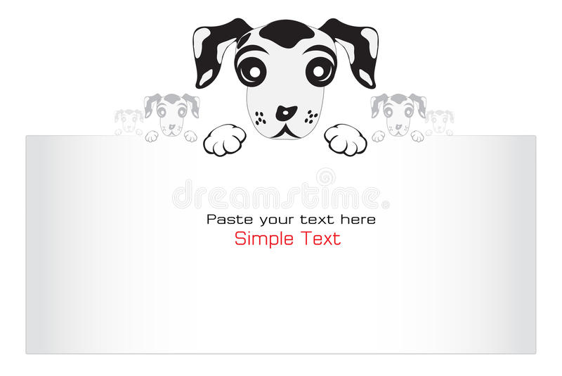 Scheda in bianco con il cucciolo. illustrazione vettoriale