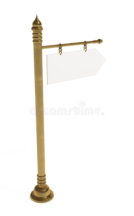 Scheda in bianco, signpost dorato, isolato su bianco illustrazione vettoriale
