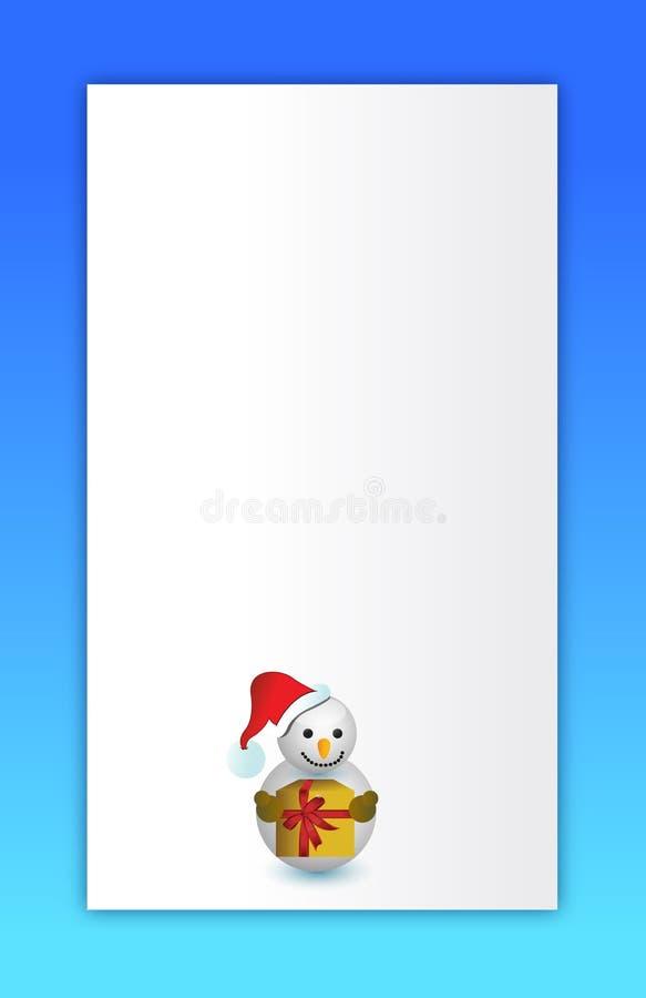 Scheda blu del pupazzo di neve di Buon Natale illustrazione di stock