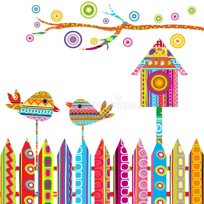 Scheda con due uccelli su una rete fissa e su un birdhouse illustrazione vettoriale