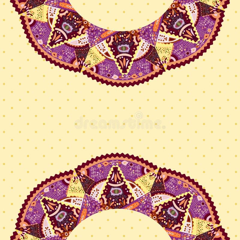 Scheda con gli elementi rotondi ornamentali illustrazione di stock