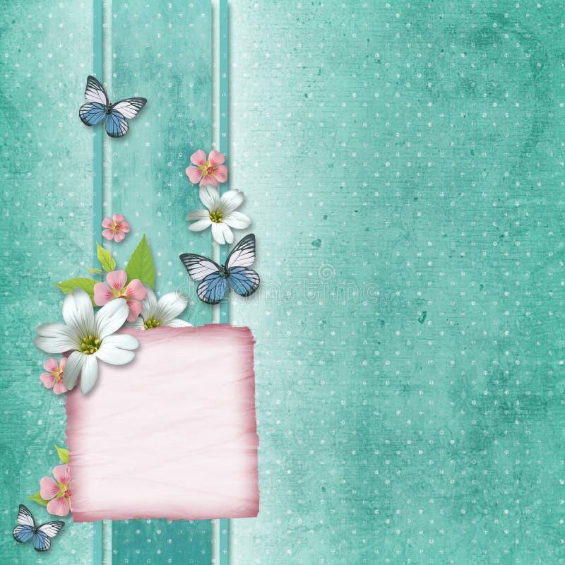 Scheda con i fiori e la farfalla illustrazione vettoriale