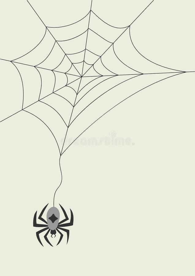 scheda con il ragno ed il cobweb illustrazione vettoriale