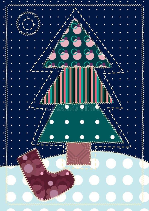 Scheda con l'albero di Natale illustrazione di stock