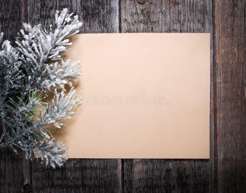 Scheda con l'albero di Natale fotografia stock