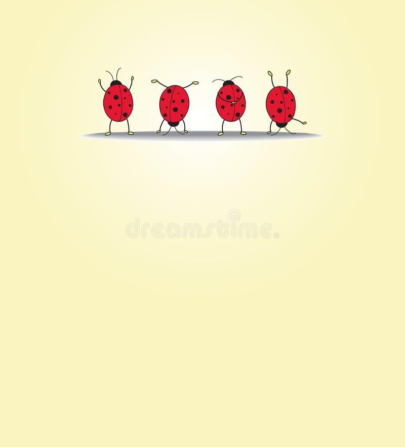 Scheda con quattro ladybugs illustrazione vettoriale