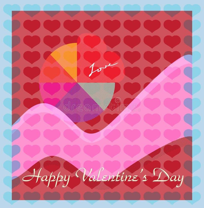 Scheda degli amanti di devozione di giorno del biglietto di S. Valentino illustrazione di stock