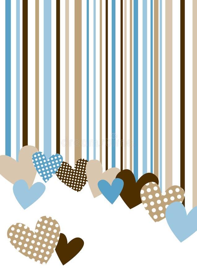 Scheda dei biglietti di S. Valentino dei cuori del puntino di Polka royalty illustrazione gratis