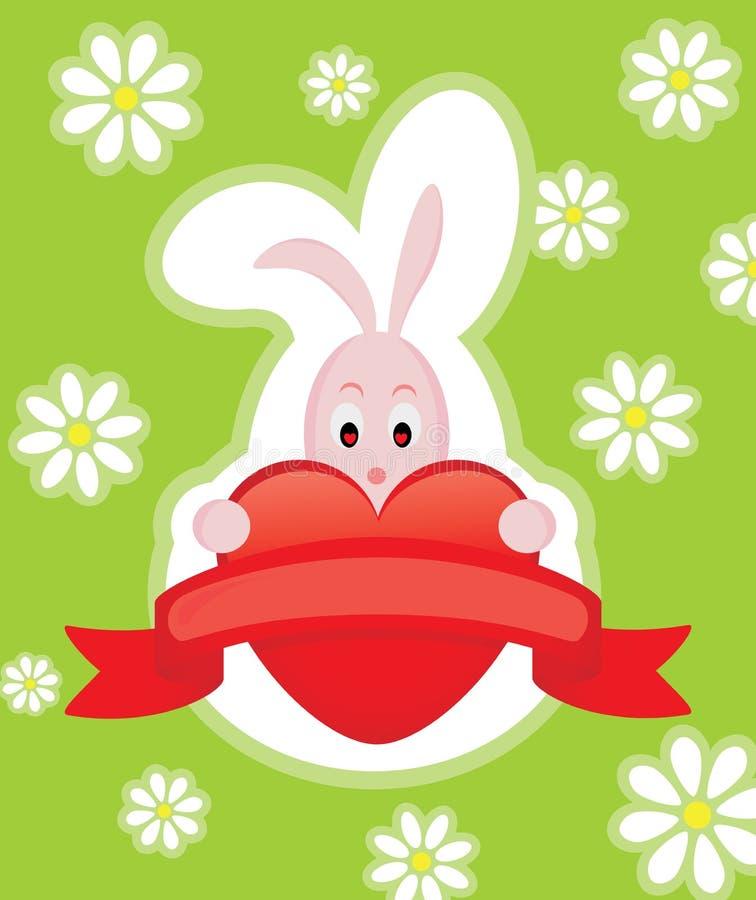 Scheda del biglietto di S. Valentino con coniglio illustrazione di stock