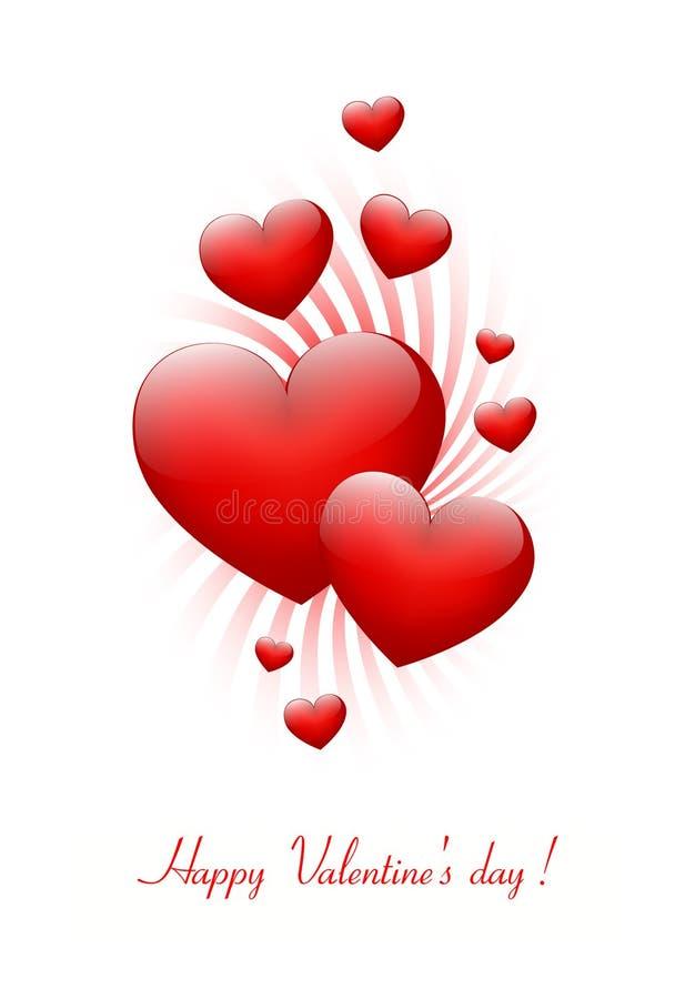 Scheda del biglietto di S. Valentino con i cuori. royalty illustrazione gratis