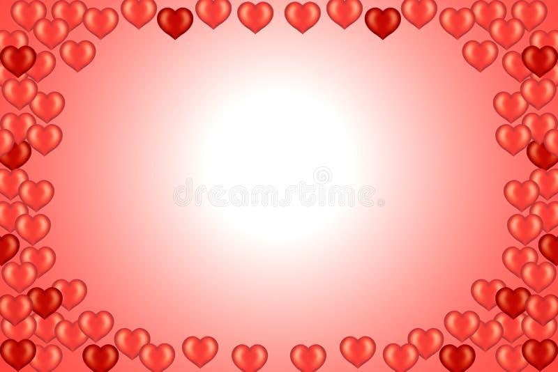 Scheda del biglietto di S. Valentino con i cuori illustrazione di stock