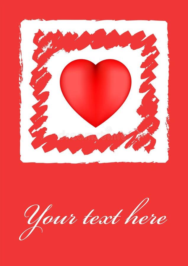 Scheda del biglietto di S. Valentino del cuore di Grunge royalty illustrazione gratis