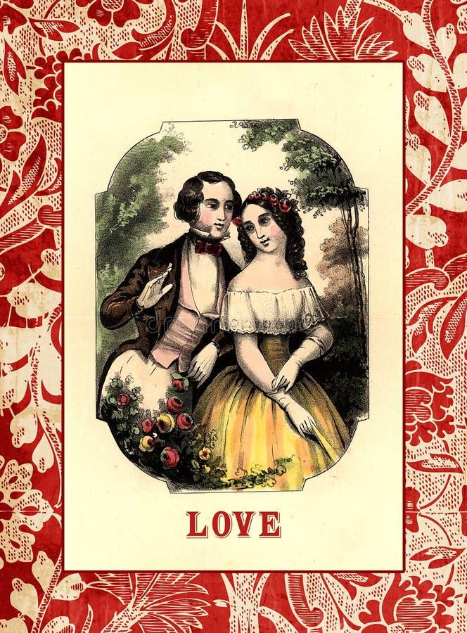 Scheda del biglietto di S. Valentino di stile dell'annata con l'illustrazione delle coppie illustrazione vettoriale