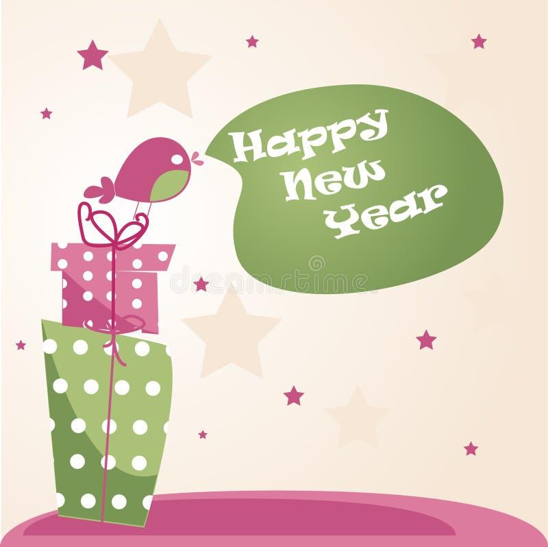 Scheda del nuovo anno illustrazione di stock