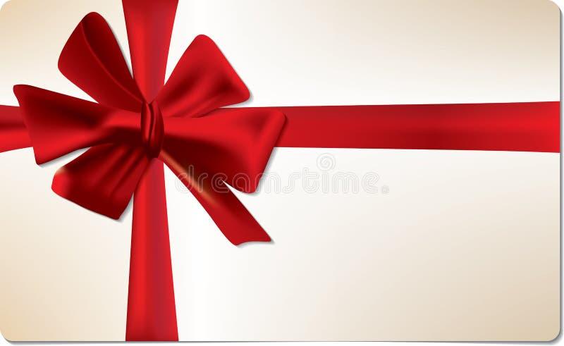 Scheda del regalo con l'arco rosso fotografia stock