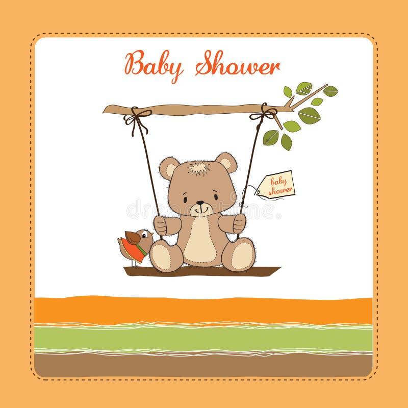 Scheda dell'acquazzone di bambino con l'orso di orsacchiotto illustrazione di stock