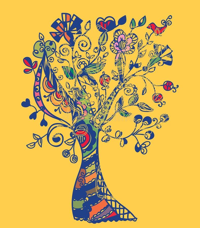 Scheda dell'albero di autunno capricciosa illustrazione di stock