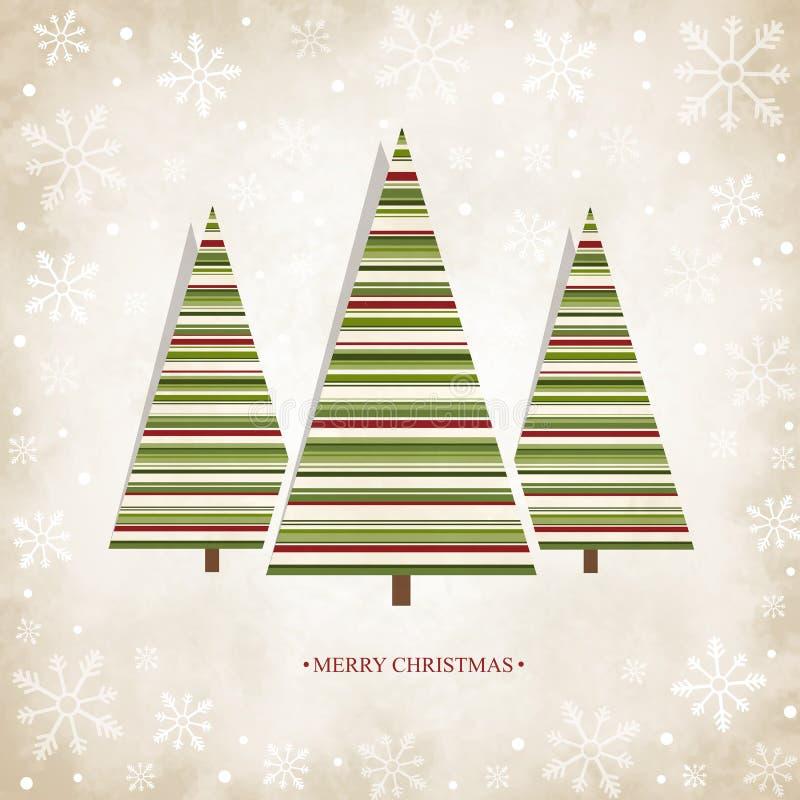 Scheda dell'annata con gli alberi di Natale illustrazione di stock