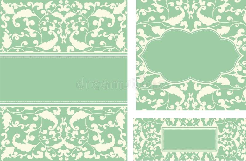 Scheda dell'annata con gli ornamenti del foglio illustrazione vettoriale