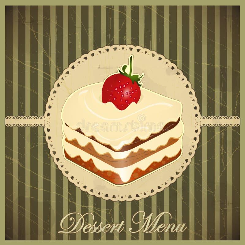 Scheda dell'annata con un dessert della fragola illustrazione vettoriale