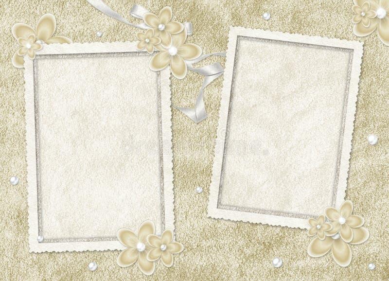 Scheda dell'annata dai fiori e dalla perla royalty illustrazione gratis