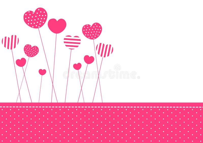 Scheda dell'invito dei cuori modellata colore rosa illustrazione vettoriale