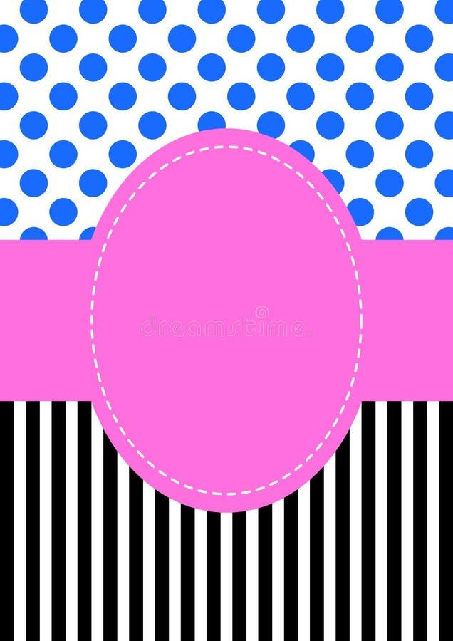 Scheda dell'invito del reticolo dei puntini e delle bande di Polka illustrazione di stock
