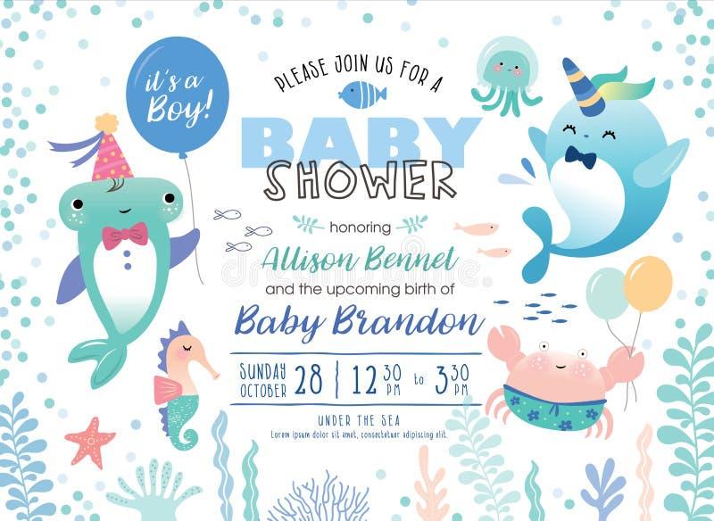 Scheda dell'invito della doccia di bambino illustrazione vettoriale