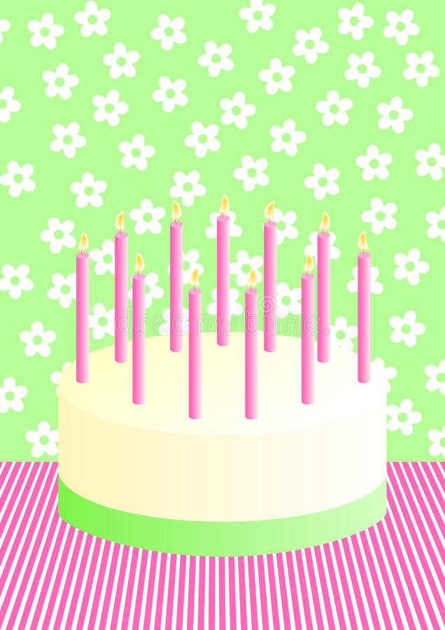 Scheda dell'invito della torta di compleanno illustrazione vettoriale