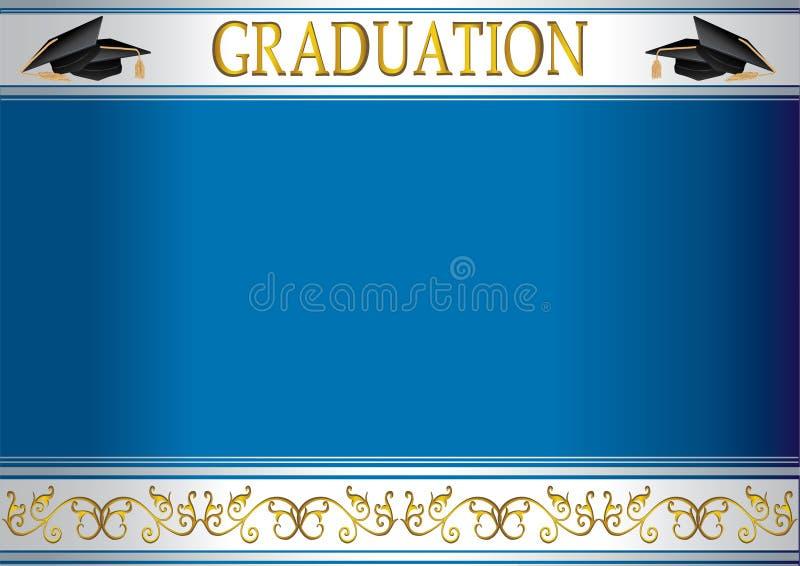 Scheda dell'invito di graduazione con i mortai illustrazione vettoriale