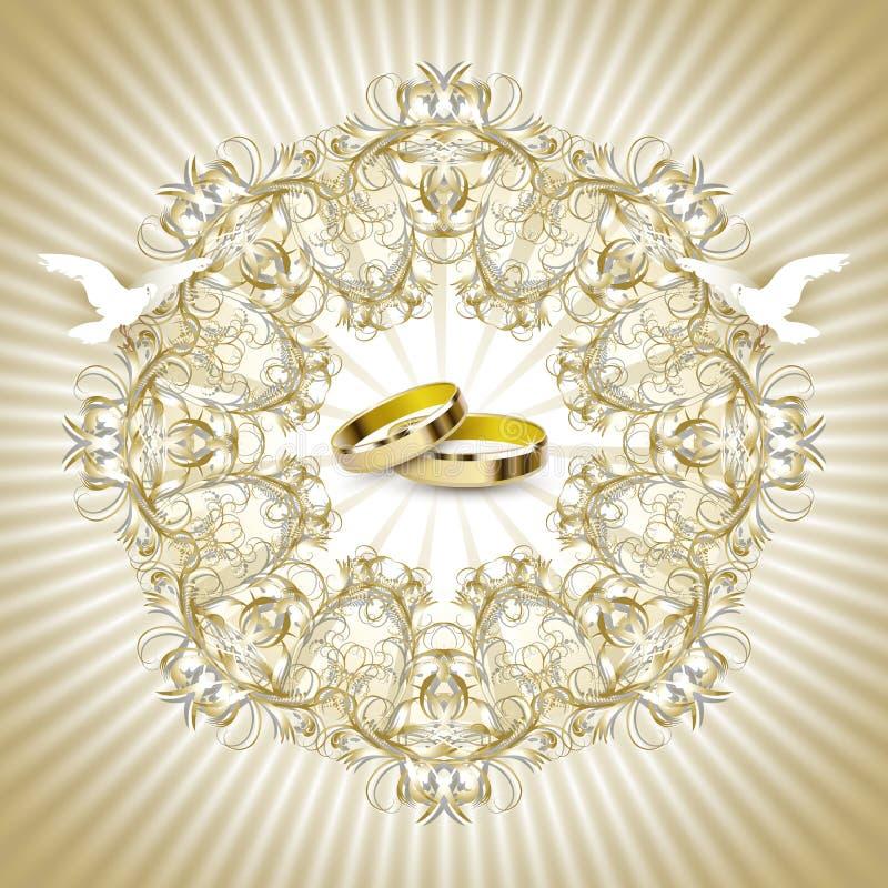 Scheda dell'invito di nozze dell'annata illustrazione vettoriale