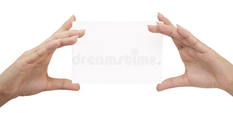 Scheda della holding della mano su priorità bassa bianca immagine stock
