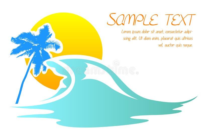 Scheda della spiaggia del mare illustrazione di stock