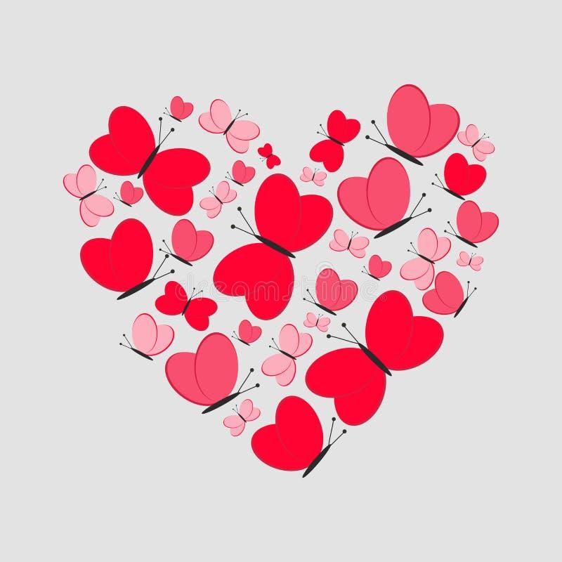 Scheda di amore Cuore sveglio dalle farfalle rosse Illustrazione di vettore illustrazione vettoriale