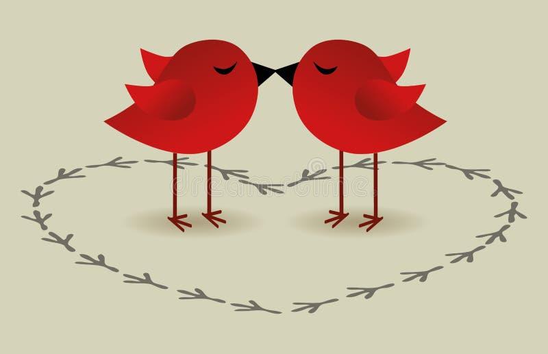 Scheda di amore degli uccelli royalty illustrazione gratis