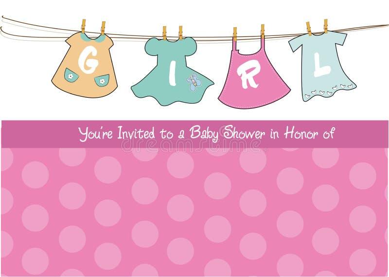 Scheda di annuncio dell'acquazzone della neonata illustrazione di stock