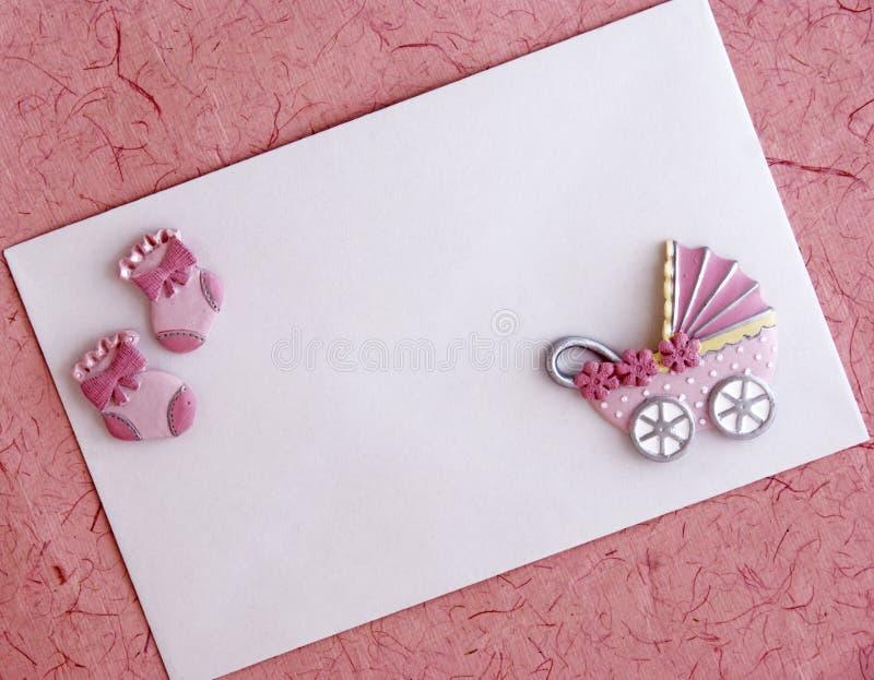 Scheda di annuncio della neonata fotografia stock