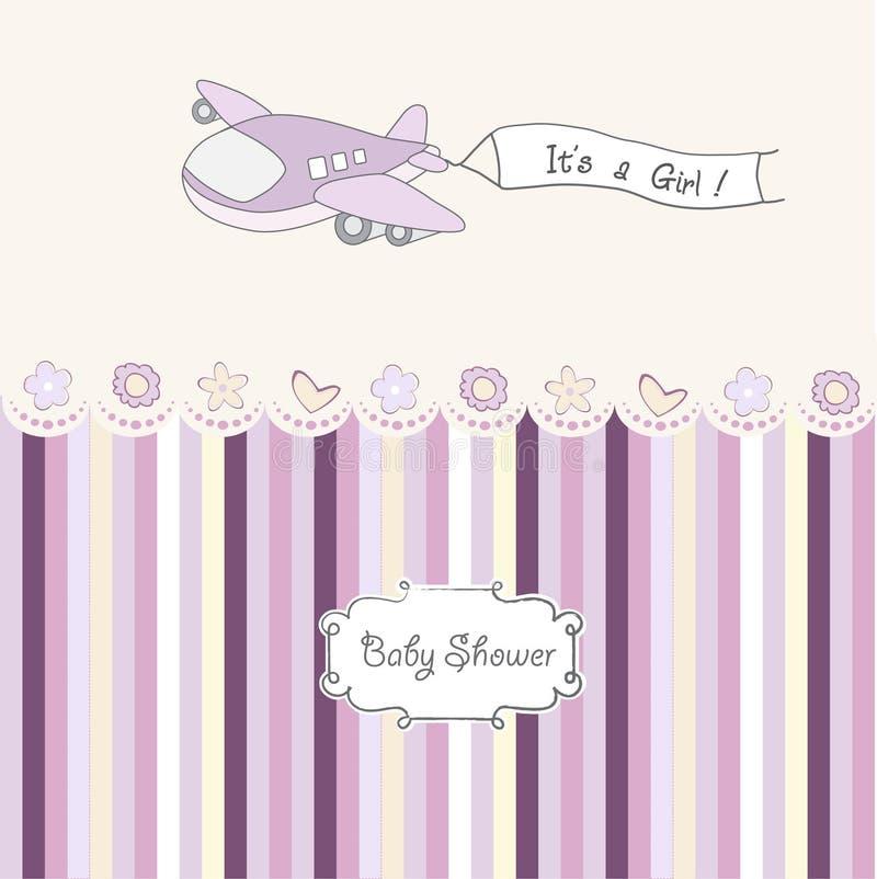 Scheda di annuncio della neonata con l'aeroplano illustrazione di stock