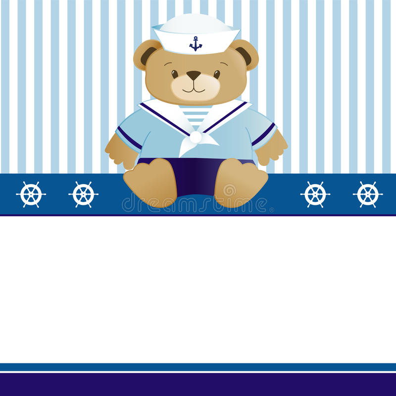 Scheda di annuncio di arrivo del neonato del marinaio royalty illustrazione gratis