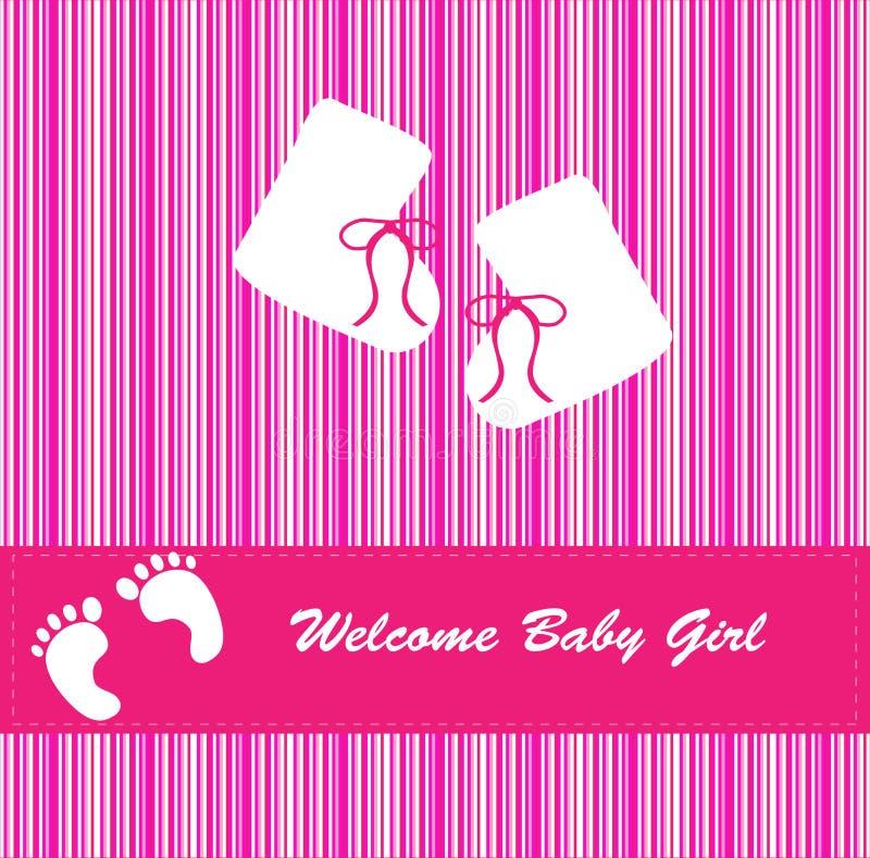 Scheda di annuncio di arrivo della neonata illustrazione vettoriale