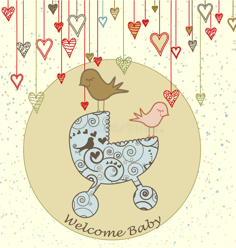 Scheda di arrivo del bambino con gli uccelli ed il passeggiatore illustrazione di stock