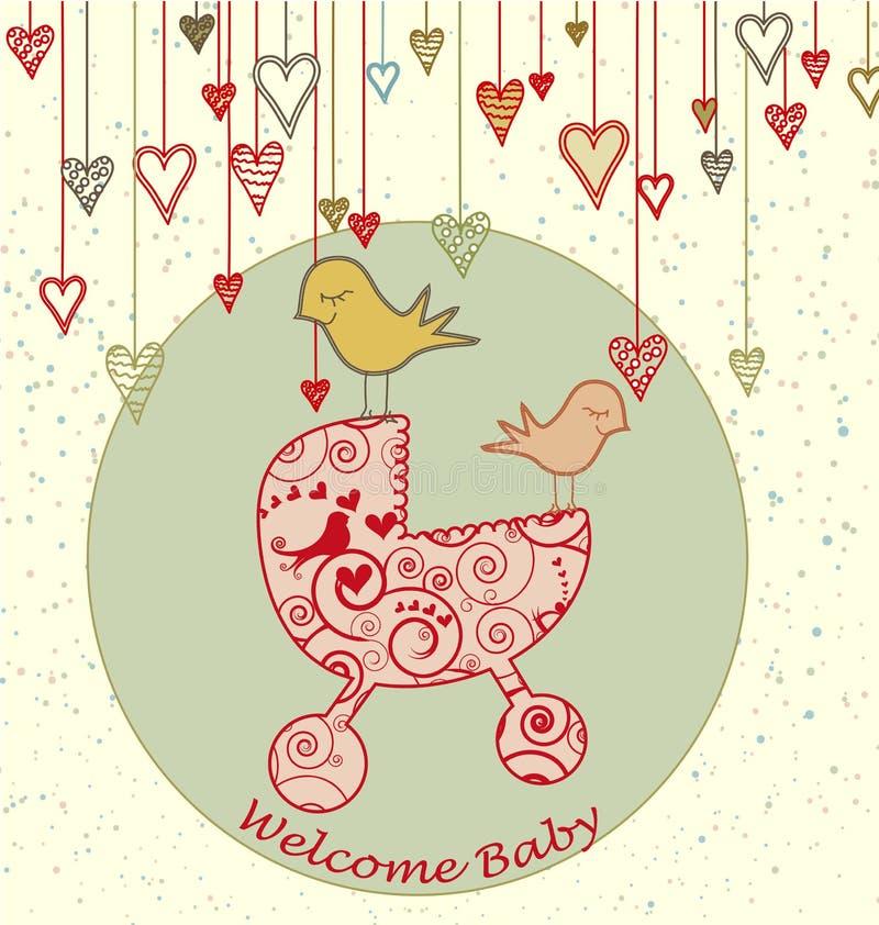 Scheda di arrivo del bambino con gli uccelli ed il passeggiatore illustrazione vettoriale