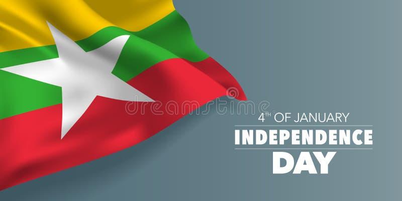 Scheda di auguri per la giornata di indipendenza del Myanmar, banner con illustrazione vettoriale del testo modello illustrazione di stock