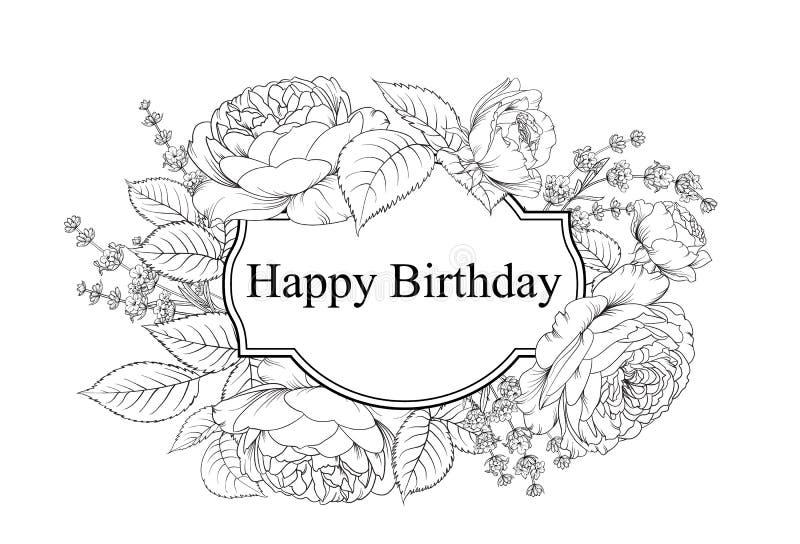 Scheda di buon compleanno Cartolina d'auguri con rosa e lavanda Fiori della primavera sulla carta floreale sopra i precedenti bia illustrazione vettoriale