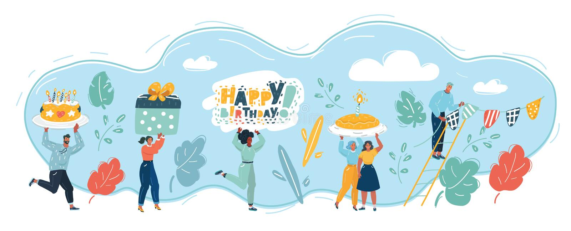 Scheda di buon compleanno Festa di compleanno royalty illustrazione gratis
