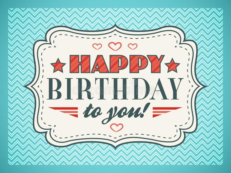 Scheda di buon compleanno La tipografia segna il tipo con lettere della fonte tipografica royalty illustrazione gratis