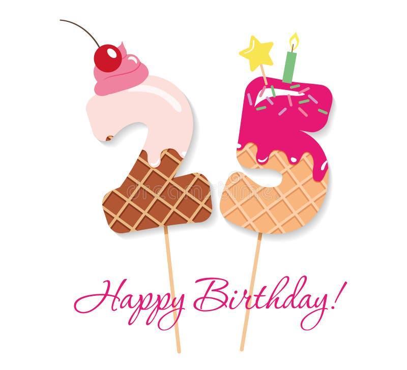 Scheda di buon compleanno Numeri festivi 25 del dolce Paglie di Coctail Caratteri decorativi divertenti Vettore illustrazione di stock